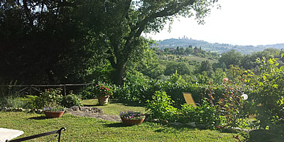 Panoramic garden over San Gimignano village