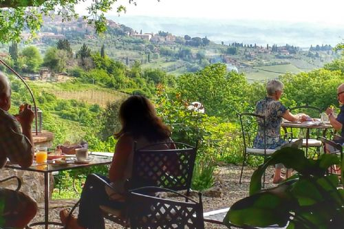Panoramic view over San Gimignano from the garden